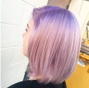 Pastel pink hair at Hair Cuttery