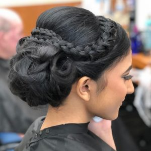 Braided updo on long hair for prom from Hair Cuttery