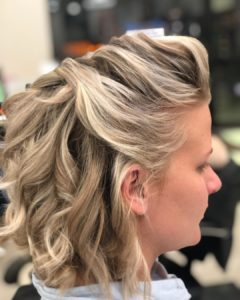 short hair half updo for prom from Hair Cuttery