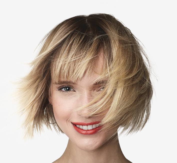 color treated hair on blonde model