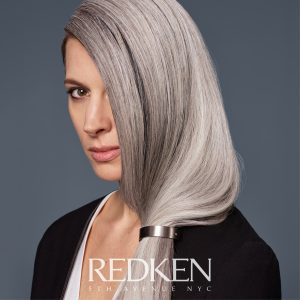 toning haircare model with grey hair