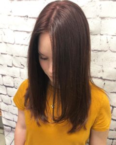 Hair color cherry cola red on 20 year old woman