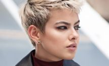 Fall Hair Trends- creme blonde with pixie cut