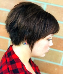 Fall hair trends- brunette pixie with bangs
