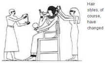 Cartoon of Egyptian hair stylists