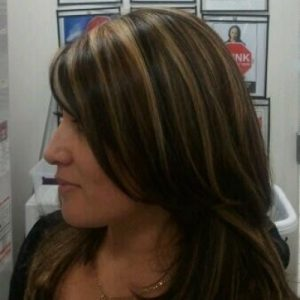 Dark hair with golden highlights