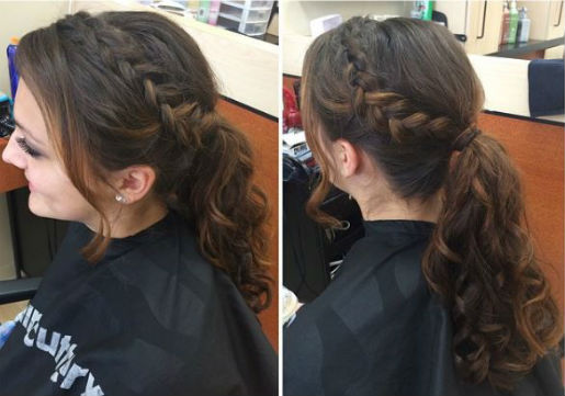 Side french braid into ponytail - long hair style