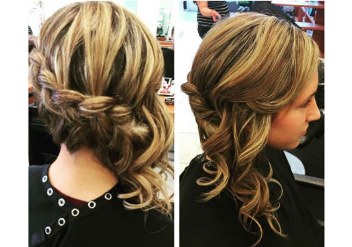 Side swept braid with waves
