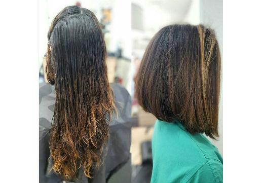 lob, long bob, highlights, haircut