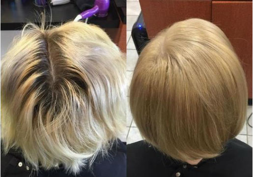 before and after, warm blonde, short bob