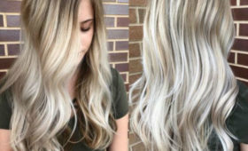 long ash blonde hair with shadow roots